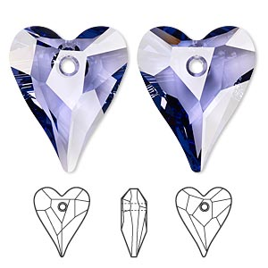 drop, swarovski crystals, crystal passions, tanzanite, 27x22mm faceted wild heart pendant (6240). sold individually.