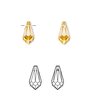 drop, swarovski crystals, crystal passions, topaz, 11x5.5mm faceted teardrop pendant (6000). sold per pkg of 2.