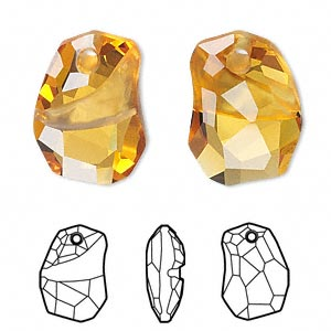 drop, swarovski crystals, crystal passions, topaz, 19x14mm faceted divine rock pendant (6191). sold per pkg of 12.