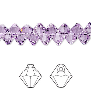 drop, swarovski crystals, crystal passions, violet, 6mm faceted bicone pendant (6301). sold per pkg of 144 (1 gross).
