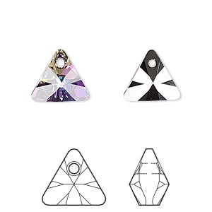 drop, swarovski crystals, crystal vitrail light p, 12mm xilion triangle pendant (6628). sold per pkg of 144 (1 gross).