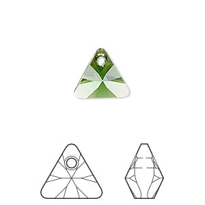 drop, swarovski crystals, dark moss green, 12mm xilion triangle pendant (6628). sold per pkg of 144 (1 gross).