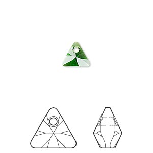 drop, swarovski crystals, dark moss green, 8mm xilion triangle pendant (6628). sold per pkg of 288 (2 gross).