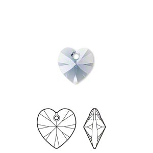 drop, swarovski crystals, denim blue, 10x10mm xilion heart pendant (6228). sold per pkg of 288 (2 gross).