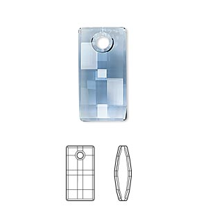 drop, swarovski crystals, denim blue, 20mm faceted urban pendant (6696). sold per pkg of 24.