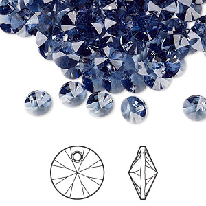 drop, swarovski crystals, denim blue, 6mm xilion rivoli pendant (6428). sold per pkg of 720 (5 gross).