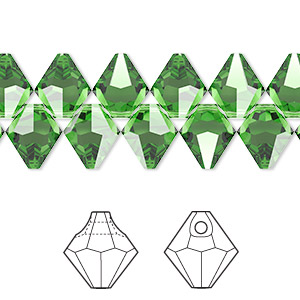 drop, swarovski crystals, fern green, 8mm faceted bicone pendant (6301). sold per pkg of 288 (2 gross).