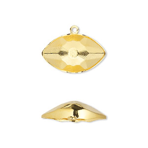 drop, swarovski crystals, gold-plated brass, 18x10.5mm eye setting (4775/c). sold per pkg of 24.