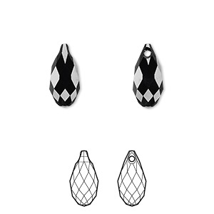drop, swarovski crystals, jet, 13x6.5mm faceted briolette pendant (6010). sold per pkg of 144 (1 gross).