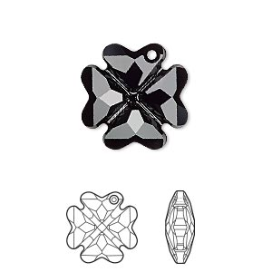 drop, swarovski crystals, jet, 19mm faceted clover pendant (6764). sold per pkg of 48.
