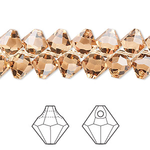drop, swarovski crystals, light colorado topaz, 8mm faceted bicone pendant (6301). sold per pkg of 288 (2 gross).