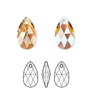 drop, swarovski crystals, light colorado topaz shimmer, 16x9mm faceted pear pendant (6106). sold per pkg of 144 (1 gross).