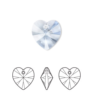 drop, swarovski crystals, light sapphire, 14x14mm xilion heart pendant (6228). sold per pkg of 144 (1 gross).