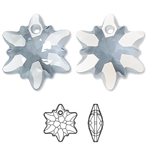 drop, swarovski crystals, partially frosted crystal blue shade, 28mm faceted edelweiss pendant (6748/g). sold per pkg of 18.