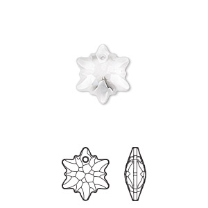 drop, swarovski crystals, partially frosted crystal clear, 14mm faceted edelweiss pendant (6748/g). sold per pkg of 72.