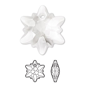 drop, swarovski crystals, partially frosted crystal clear, 28mm faceted edelweiss pendant (6748/g). sold per pkg of 18.