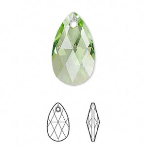 drop, swarovski crystals, peridot, 22x13mm faceted pear pendant (6106). sold per pkg of 96.