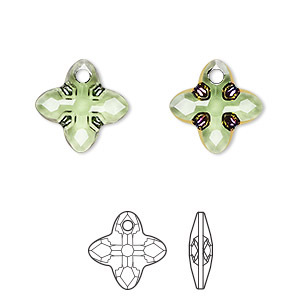 drop, swarovski crystals, peridot scarabaeus green z, 14mm faceted cross tribe pendant (6868). sold per pkg of 36.