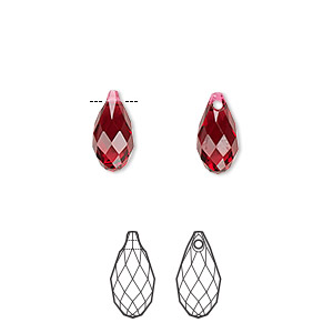 drop, swarovski crystals, scarlet, 11x5.5mm faceted briolette pendant (6010). sold per pkg of 144 (1 gross).