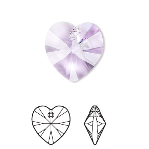 drop, swarovski crystals, violet, 18x18mm xilion heart pendant (6228). sold per pkg of 72.