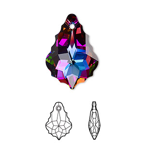 drop, swarovski crystals with third-party coating, crystal electra, 22x15mm faceted baroque pendant (6090). sold per pkg of 48.