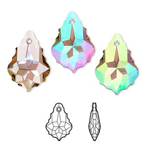 drop, swarovski crystals with third-party coating, crystal passions, crystal purple haze, 22x15mm faceted baroque pendant (6090). sold per pkg of 12.