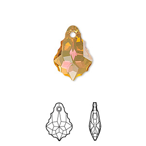 drop, swarovski crystals with third-party coating, crystal passions, crystal summer blush, 16x11mm faceted baroque pendant (6090). sold per pkg of 12.
