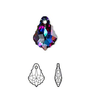 drop, swarovski crystals with third-party coating, crystal passions, crystal electra, 16x11mm faceted baroque pendant (6090). sold individually.