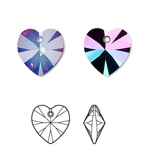 drop, swarovski crystals with third-party coating, crystal passions, white opal electra, 14mm xilion heart pendant (6228). sold per pkg of 24.