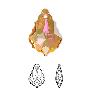 drop, swarovski crystals with third-party coating, crystal summer blush, 22x15mm faceted baroque pendant (6090). sold per pkg of 48.