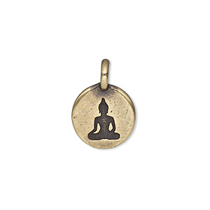drop, tierracast, antique brass-plated pewter (tin-based alloy), 11.5mm single-sided round with buddha. sold individually.