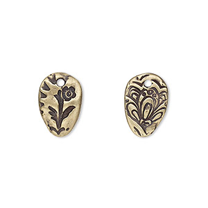 drop, tierracast, antique brass-plated pewter (tin-based alloy), 14x9.5mm two-sided oval with flora design. sold per pkg of 2.