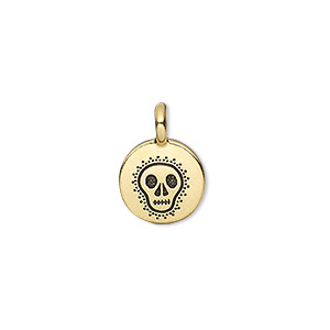 drop, tierracast, antique gold-plated pewter (tin-based alloy), 12mm single-sided flat round with fancy skull. sold individually.