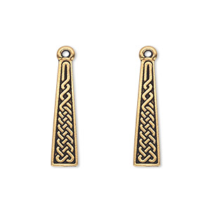 drop, tierracast, antique gold-plated pewter (tin-based alloy), 22.5x5.5mm double-sided flat trapezoid with celtic braid. sold per pkg of 2.