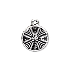 drop, tierracast, antique silver-plated pewter (tin-based alloy), 17mm double-sided flat round with labyrinth design. sold per pkg of 2.