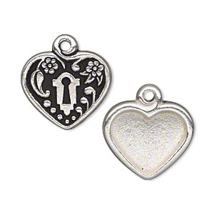 drop, tierracast, antique silver-plated pewter (tin-based alloy), 19.5x19mm flat heart with 15.5x13.5mm heart setting and keyhole with leaf design. sold individually.