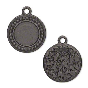drop, tierracast, black-plated pewter (tin-based alloy), 19.5mm beaded flat round with leaf design and 12.5mm round setting. sold individually.