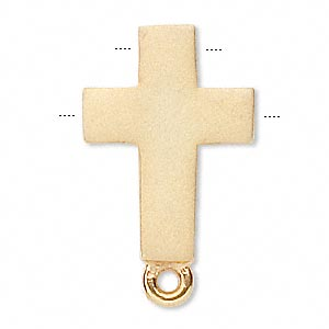 drop, vermeil, 15x11mm double-drilled matte cross with loop. sold individually.