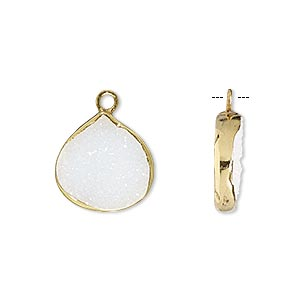 drop, white druzy agate (natural) and gold-finished sterling silver, 15x15mm single-sided teardrop. sold per pkg of 2.