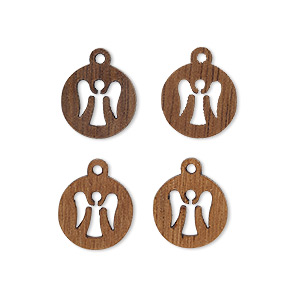 drop, wood (natural), 11mm double-sided flat round with cutout angel design. sold per pkg of 4.