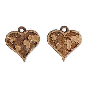 drop, wood (natural), 17x16mm single-sided heart with world map design. sold per pkg of 2.