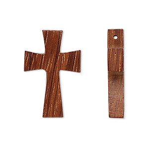 drop, wood (waxed), 27x16mm hand-cut cross. sold per pkg of 2.