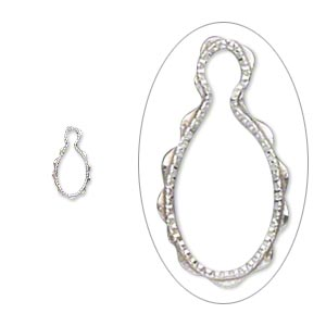 drop, wrap-tite, sterling silver, 6x4mm fancy oval setting. sold per pkg of 2.