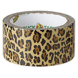 duct tape, duck tape, plastic / poly-cotton cloth / rubber, tan / brown / black, 48mm wide with leopard print pattern. sold per 10-yard spool.