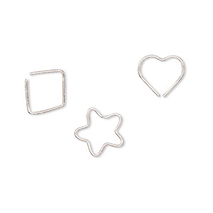 ear cuff, sterling silver, 9.5x9mm open heart / 10.5x10mm open star / 10.5x10mm open diamond. sold per pkg of 3.