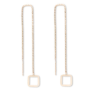 ear thread, 14kt gold-filled, 4-1/2 inch chain with 8.5x8.5mm open square. sold per pair.