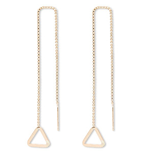 ear thread, 14kt gold-filled, 4-1/2 inch chain with 9x9x9mm flat triangle. sold per pair.