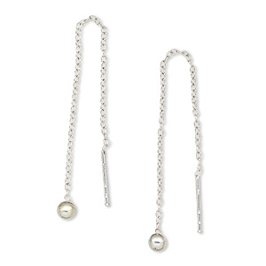 ear thread, sterling silver, 2-3/4 inches with cable chain and 3mm ball. sold per pair.