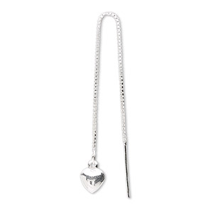 ear thread, sterling silver, 3-1/2 inch box chain with 7x6mm puffed heart. sold per pair.