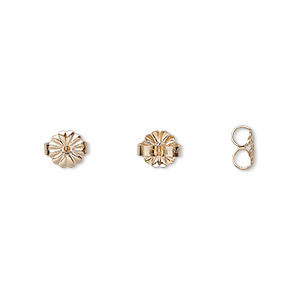 earnut, 14kt gold-filled, 6mm daisy. sold per pkg 4 pairs.